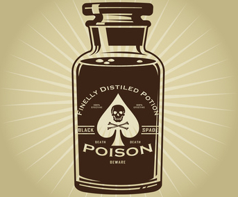 bottle with poison, Past Life Fear of Poisoning