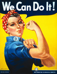 femal worker, showing her muscles, symbolizing self determination