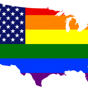 american map in rainbow colors, symbolizing the gay marriage and supreme court ruling