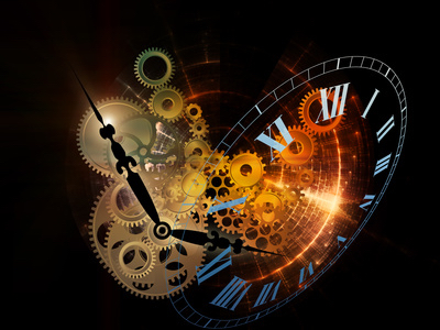 Abstract interplay of clock symbols to represent the importance of lessons learned, past, present and future.