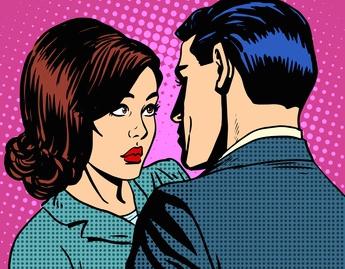 Woman looking distrustfully at partner, representing past life fear of betrayal