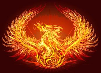 Phoenix rising to represent reincarnation
