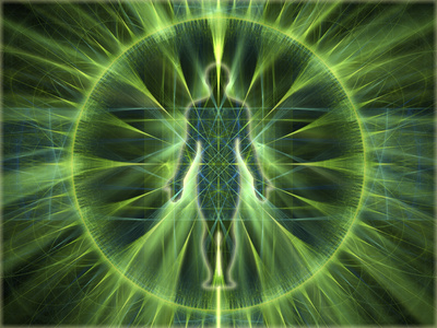 body of human drawing with green light behind it, Reincarnation: Building on Past Lives