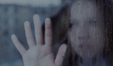 a woman putting her hand against the window, it's raining outside, Drama Queen Without a Court