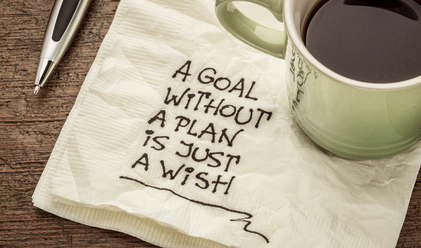 coffee mug on a napkin, pen next to it, written on napkin, a goal without a plan is just a wish, Mantras and Spiritual Affirmations
