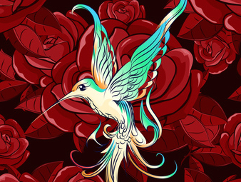 Flying hummingbird against flower drawn in cartoon style, When Death is Not Final