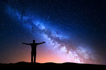 man with arms lifted to the night sky, Psychic Readings and Guidance Sessions | Ainslie MacLeod