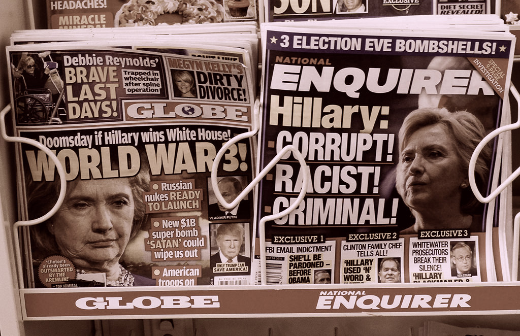 newspaper and magazines with faked news, speaking your truth in the age of Trump